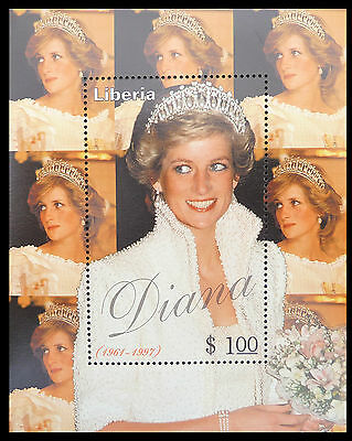 LIBERIA Wholesale Princess Diana Memoriam Min/Shts With Tiara x 100 U/M CD 583