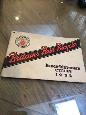 Rudge Whitworth Cycles 1932 Sale Catalogue Bicycle Aero Roadster Etc