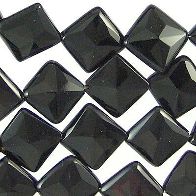 Black Onyx Gemstone 14mm Faceted Square  Beads 71214