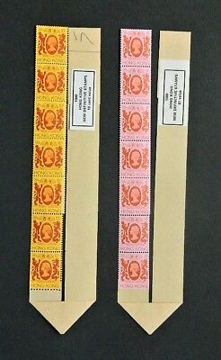 Hong Kong 1982 Strips of 12 Coil Stamps with Leaders Unmounted Mint.