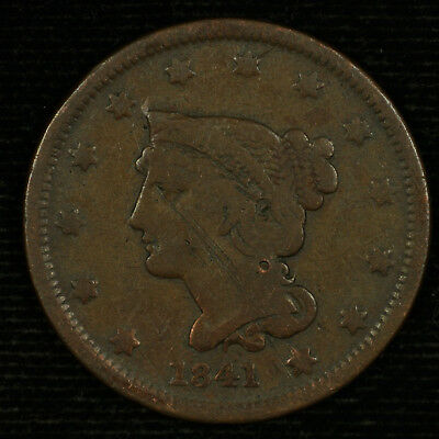 Large Cent Braided Hair. 1841 VG Details. Lot # 9015-50-041
