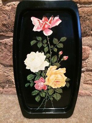 "Vintage Shabby Chic Metal Tray Elite 1950s Floral Roses Kitsch Fabulous 6"" X 10"""