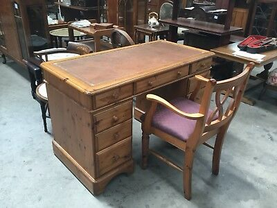 Ducal Antique Pine Pedestal Desk And Matching Chair
