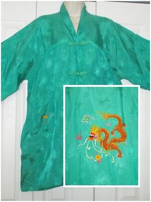 "Vintage GOLDEN BEE Embroidered Dragon Chinese JACKET ROBE 44"" Bust/Chest Unisex"