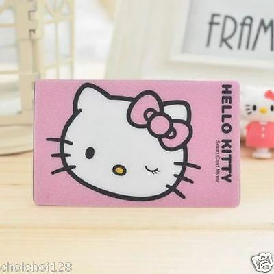 Hello Kitty Credit Card Size Mirror For Make Up , Pocket, Wallet Hot Pink KK427