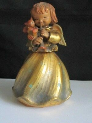 ANRI FERRANDIZ Hand Carved Wood Angel  Playing Trumpet Rotating REUGE Music Box