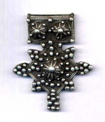 "Morocco - Mauritania – Rare large granulated cross ""Boghdad"" solid silver"