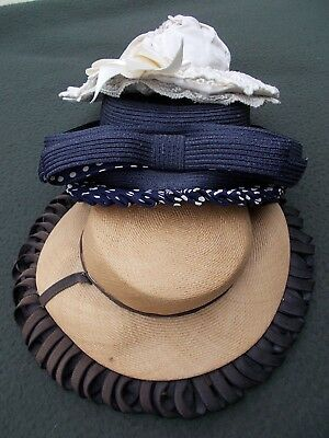 Super chapeaux [ 3 ] navy with polka dots...lace & straw children's  c. 1930-40