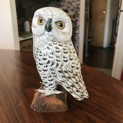 Hand Carved and Painted Wood,  White Snowy Owl on Branch Perch Sculpture Figure