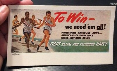 1950s Racial Religious Tolerance Postcard Olympics Sports Union Made FIGHT HATE