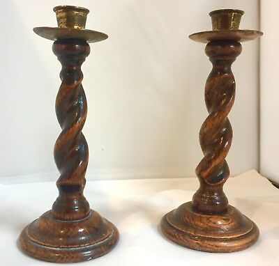 Fine Pair Antique Barley Twist Candlesticks, Brass Tops, Shagreen Covered Bases