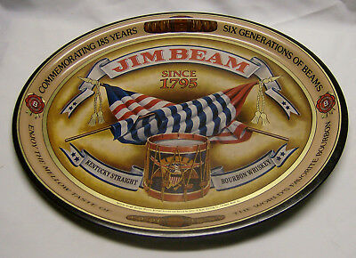 Metal Oval Jim Beam Serving Tray-6 Generations of Beam-Never Used