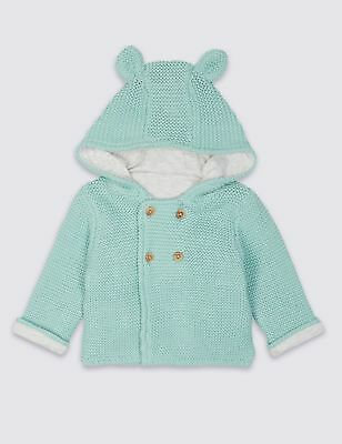 M&S Unisex Pure Cotton Chunky Knit Hooded Cardigan with ears - Green 3-6 months