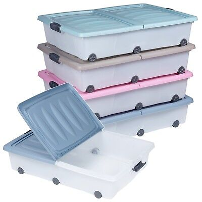 70 Litre Large Under Bed Plastic Storage Box Wheeled w/Lids Shoes Clothes Split