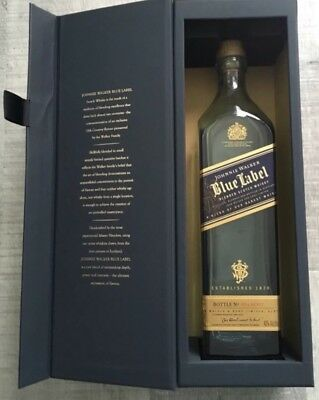 Lot of 15 empty Johnnie walker blue bottles w/ tops and 5 Blue Boxes