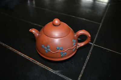Chinese Yixing Black Plum Blossom Ornate Purple Clay Teapot Vintage?