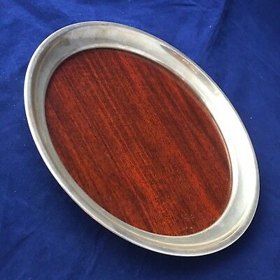 """Round Sterling Silver & Formica Tray by Boardman Vintage 8"""" Mid Century MCM"""