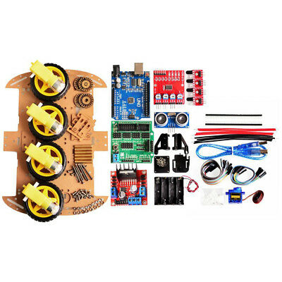4WD Robot Car Kit UNO Bluetooth IR Obstacle Avoid Line Follow L298N For·Arduino