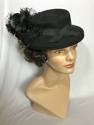 Vintage Black Lan-O-Rex New York 100% Wool Felt Hat With Netting And Feathers