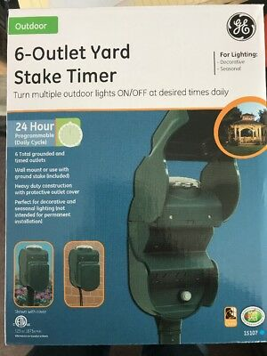 Ge 6 Outlet Outdoor Weather Proof Yard Stake 24 Hour Programmable Timer Holiday