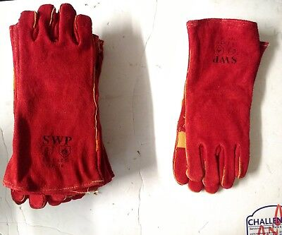 SWP Kevlar Stiched Leather Welding Glives/ Gauntlets Joh Lot 14 Pairs Size 10