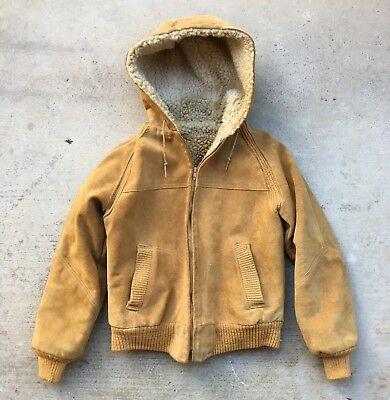 Vintage 50's 60's KIDS Leather Suede Sherpa Lined Hooded Coat Jacket sz 8 Sears