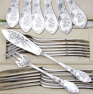 24pc Antique French Sterling Silver Art Nouveau Fork & Knife Fish Service Set