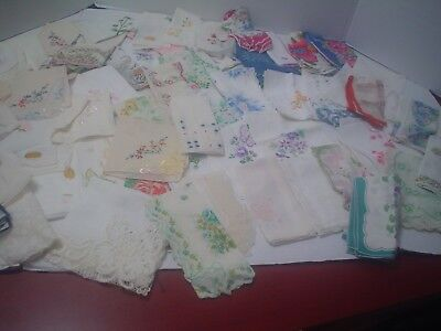 Huge Lot Of 55+ Handkerchiefs, Tatted, Floral, Some With Tags, Embroidery. Euc