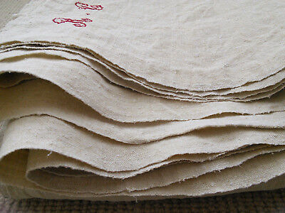 Antique French Chanvre Hemp Sheet Fabric - Red Hand Stitched Monogramme Rg/rc