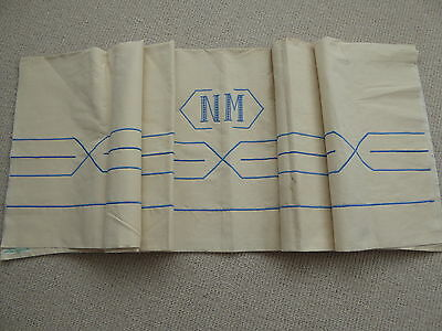 """Unused French Linen Metis Sheet """"fleur Bleue"""" Monogramme Nm & Blue Embroidery"""