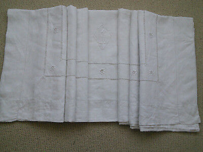 FINE LINEN SHEET / FABRIC / TEXTILE with MONOGRAMME & 3 LEVELS OF LADDERWORK
