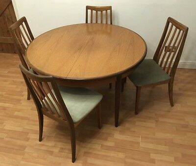 G Plan Circular Extending Dining Table 4 Chairs Vintage