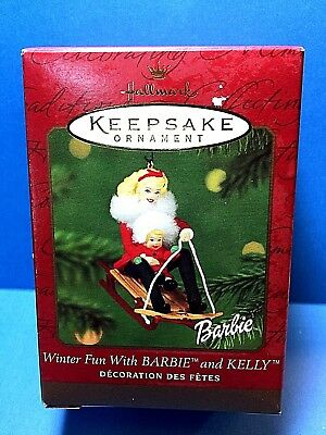 """Hallmark """"Winter Fun With Barbie and Kelly"""" Ornament 2000"""