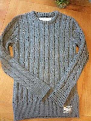 womens large Superdry grey chunky knit aran jumper approx size 12 to 14