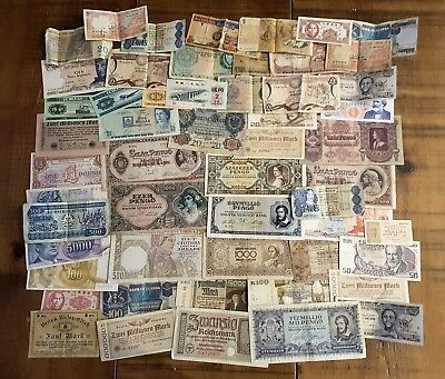 A collection of 50 World Banknotes.