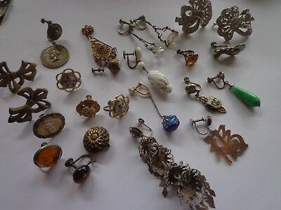 Antique Victorian Art Deco Later Repair Jewelry Lot Parts Single Earring Glass