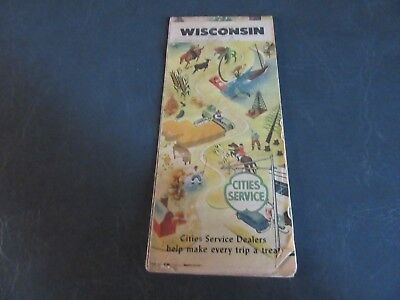 VINTAGE 1940s Wisconsin Highway Road Map Cities Service
