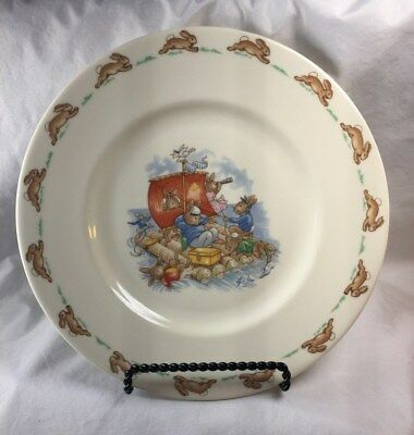 "Royal Doulton Bunnykins Rafting 8"" Salad Plate English Fine Bone China, no box"