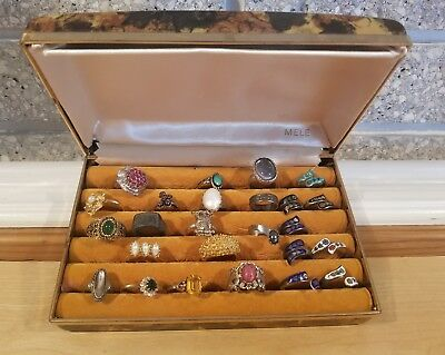 Lot of 25 Vintage Estate Cocktail Costume Rings, Some Sterling W/Mele Case Avon