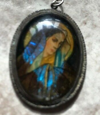 Antique Art Deco Hoffman Sterling Silver Butterfly Wing Cameo- Virgin Mary- 1920