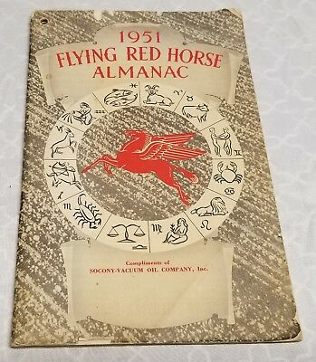 Vintage - Socony-Vacuum Oil - 1951 Flying Red Horse Almanac - UN-Tested -  READ