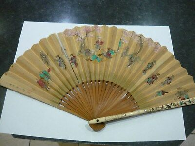 Stunning Very Old Antique Asian Chinese or Japanese Hand Fan - Lovely Detail