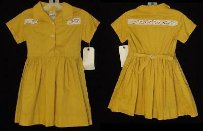 VTG 50s GIRLS GOLD EMBROIDERY COTTON SCHOOL LIKE MOM FAIRYLAND DRESS NEW OLD 6