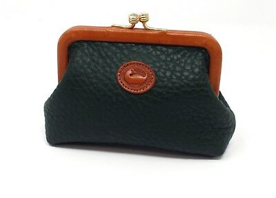 Dooney & Bourke AWL Coin Purse Green Pebbled Leather Kiss Lock USA Vintage