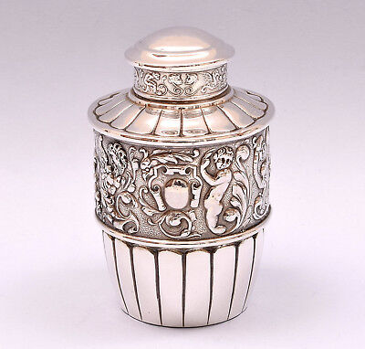 Beautiful Solid Silver Repousse Tea Caddy