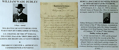 CIVIL WAR GENERAL WIA GETTYSBURG COLONEL 19th INDIANA INFANTRY LETTER SIGNED VG