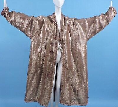 19Thc Ethnic Gold Lame Brocade Coat 4 Dress W Tassel Ties Cutter / Fabric