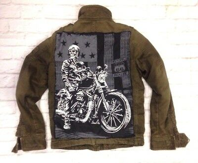 Abercrombie Biker Moto Back Patch Elk Lake Jacket Distressed Green Youth Large
