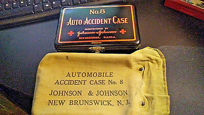 Vintage First Aid Kit Auto Accident Case No 8 Johnson & Johnson with canvas bag