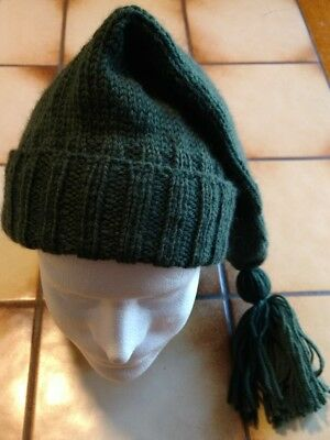 NEW Handmade Knitted Voyager Hat, 100% Wool, Green - Mountainman, Reenactment
